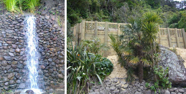timber retaining wall and water feature by manaia excavators