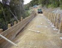 Driveway with retaining wall construction