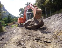 Digger moving a large rock