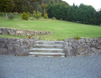 Rock landscaping with steps